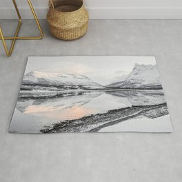 Mountain Sunset Reflection On A Lake In Norway Photo Art Print | Winter Snow Travel Photography Rug
