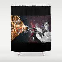 louis armstrong Shower Curtains featuring Louis Light (Digital Collage) by Jeff Taylor