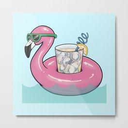 Flamingo Float Metal Print