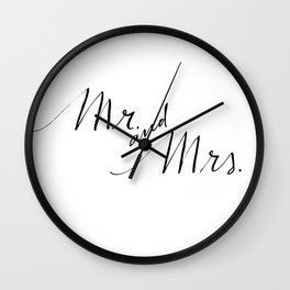 Mr. and Mrs. Calligraphy Wall Clock
