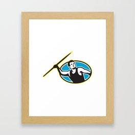 Javelin Throw Track and Field Athlete Framed Art Print