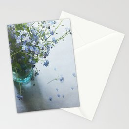 Forget-me-not bouquet in Blue jar Stationery Cards