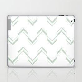 Deconstructed Chevron in Pastel Cactus Green on White Laptop & iPad Skin