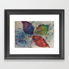 Traveling Leaves - Fall Autumn Maine Watercolor Print Framed Art Print