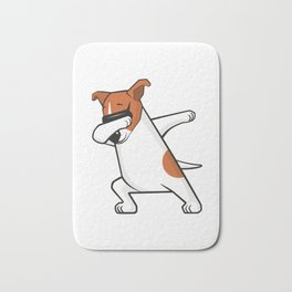 Dabbing Jack Russell Dog. Funny, cool dancing puppy. Dab dance. Cartoon dog. Bath Mat