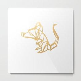 Rat Origami (gold) Metal Print