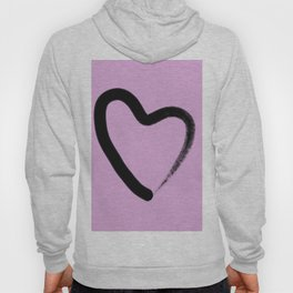 Simple Love - Minimalistic simple black love heart brush stroke on a pink background Hoody