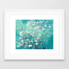 Vincent Van Gogh Almond Blossoms Turquoise Framed Art Print