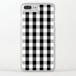 Large Black White Gingham Checked Square Pattern Clear iPhone Case