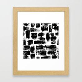 Black brush stripes plaid Framed Art Print