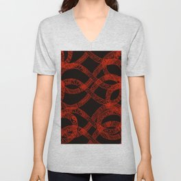 red pattern 4 Unisex V-Neck