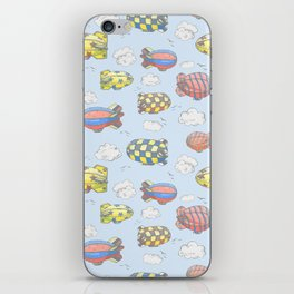 Hand drawn vector vintage seamless pattern with cute little airchips with strips, stars, dots and sq iPhone Skin