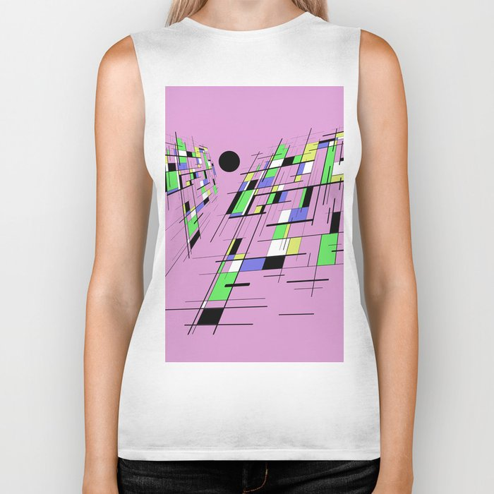 Bad perspective - Abstract, vector, geometric, 3D style artwork Biker Tank