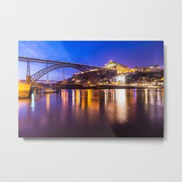 Porto at night Portugal Metal Print