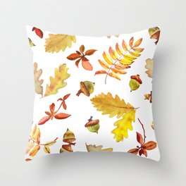 Watercolor pattern foliage oak leaves and acorn. Throw Pillow