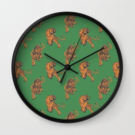 tiger print green Wall Clock