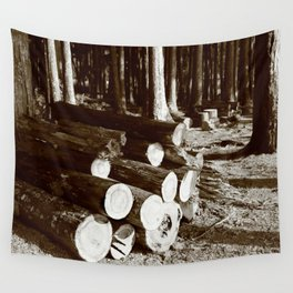 Stacked logs Wall Tapestry