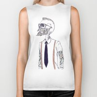 hipster Biker Tanks featuring The Gentleman becomes a Hipster  by Mike Koubou