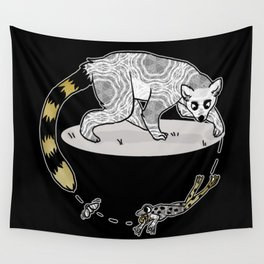 Ring Tailed Lemur, Frog & Fly, Funny Animal Illustration, Black and White Cute Lemur Graphic Design Wall Tapestry