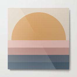 Minimal Retro Sunset - Neutral Metal Print
