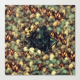 The skull, the flowers and the Snail Warm Canvas Print