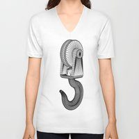 crane V-neck T-shirts featuring crane by Great Siberia Studio