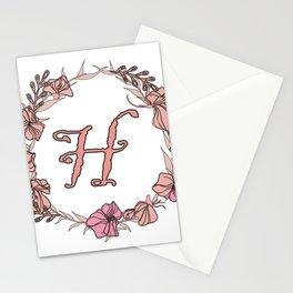 Letter H Rose Pink Initial Monogram - Letter h Stationery Cards