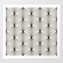 Geometric Orb Pattern - Black Art Print