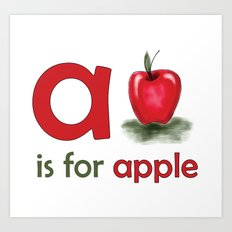 a is for apple, children alphabet for kids room and nursery Art Print