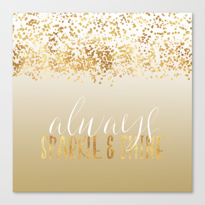 Gold Confetti Ombre Sparkle Canvas Print by joacreations  296bdd45c8