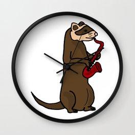Cool funny ferret pla Wall Clock