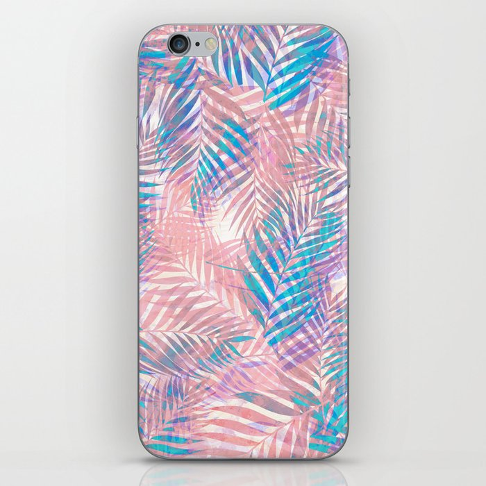 Palm Leaves - Iridescent Pastel iPhone Skin