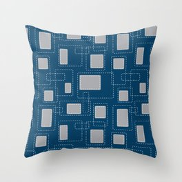 Got Me In Stitches - Blue Throw Pillow