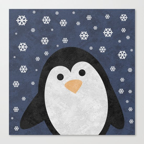 Christmas Penguin Marble Canvas Print