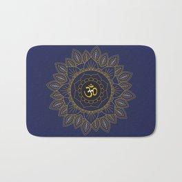 Om Symbol and Mandala in Spiritual Gold Purple Blue Violet Bath Mat