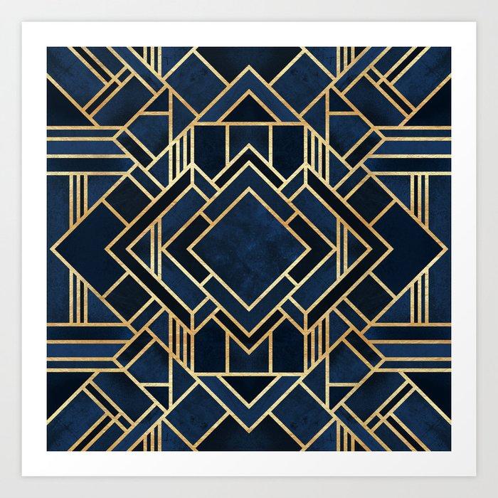 Art Deco Fancy Blue Kunstdrucke