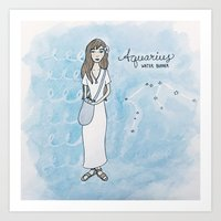 Aquarius Constellation Girl Art Print