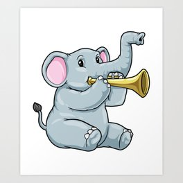 Funny elephant is playing the trumpet Art Print