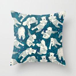 arctic polar bears blue Throw Pillow