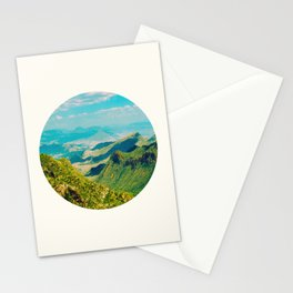 Mid Century Modern Round Circle Photo Graphic Design Vintage Pastel Green Mountain Valley Stationery Cards