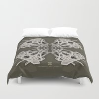 cyberpunk Duvet Covers featuring Calaabachti Arch Rosetta [synthetic version] by Obvious Warrior