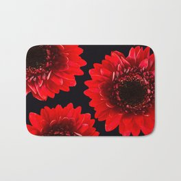Red Flowers On A Black Background #decor #buyart #society6 Bath Mat