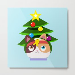 SuperKitty Christmas Tree Metal Print