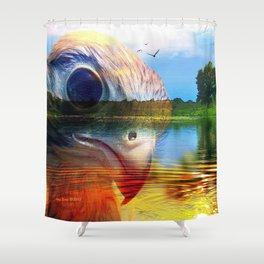 Krestrel Falcon In Landscape By Annie Zeno Shower Curtain