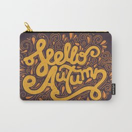 Hello Autumn handwritten lettering (brown) Carry-All Pouch