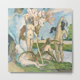 Cezanne's Ladies And Some Lilies Metal Print