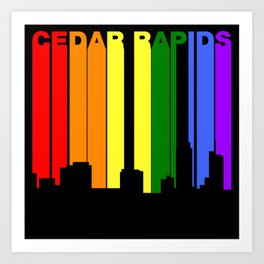 Cedar Rapids Iowa Gay Pride Rainbow Skyline Art Print