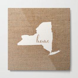 New York is Home - White on Burlap Metal Print