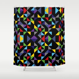 Geometric Pattern Colorful, black background. Good vibes by Cokowo. Shower Curtain