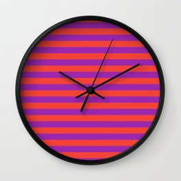 Even Horizontal Stripes, Red and Purple, M Wall Clock